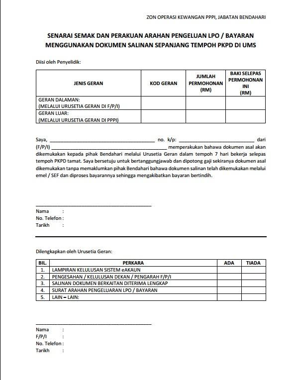 Senarai Semak & Perakuan Arahan Pengeluaran LPO