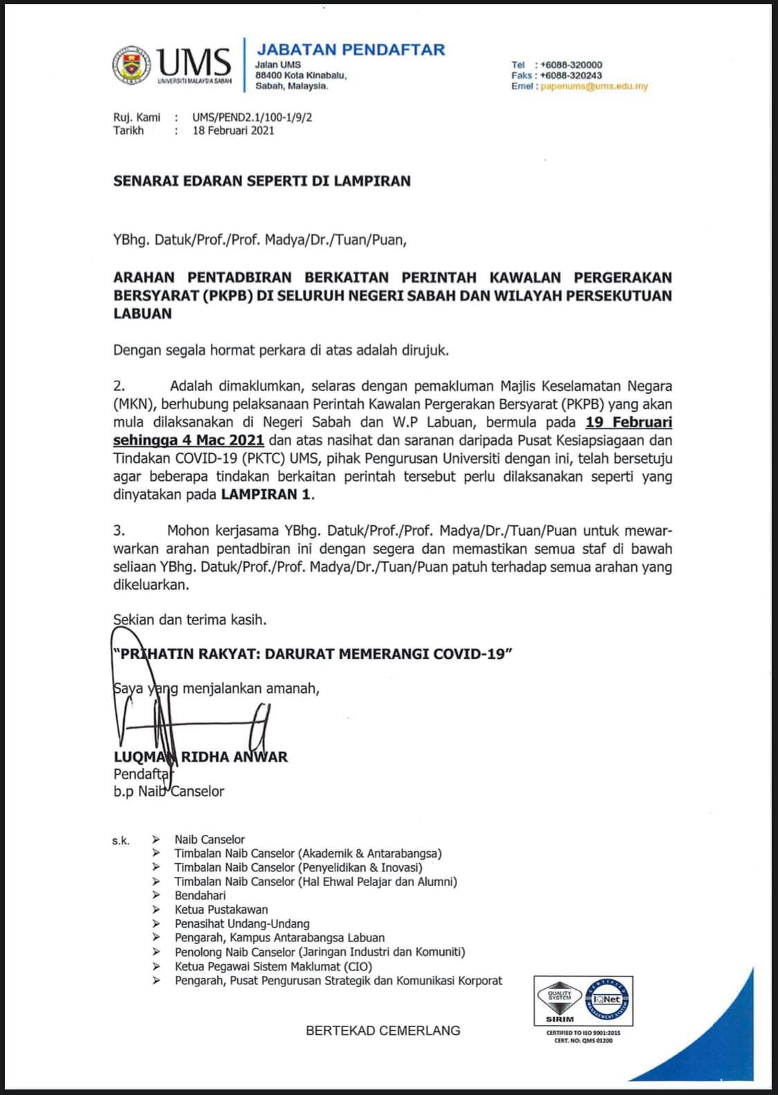 Pemakluman Terkini Peratusan Kehadiran Kakitangan Universiti Malaysia Sabah
