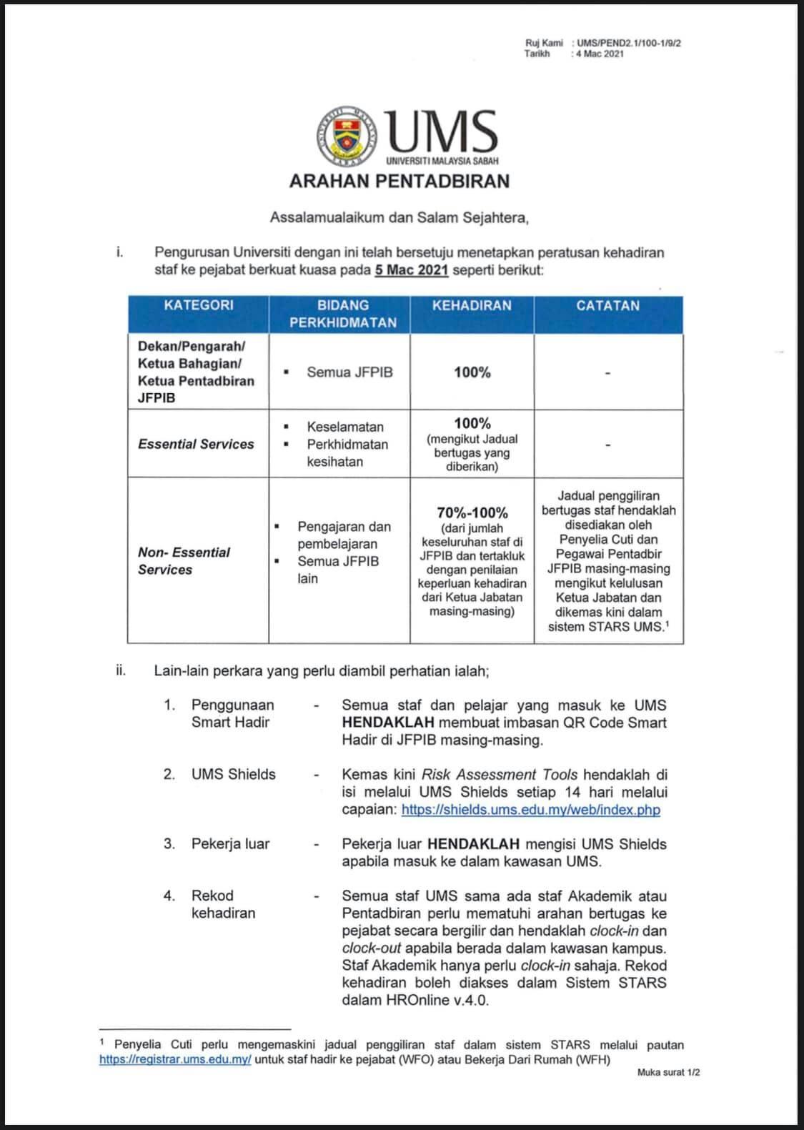 Pemakluman Terkini Peraturan Kehadiran Kakitangan Universiti Malaysia Sabah