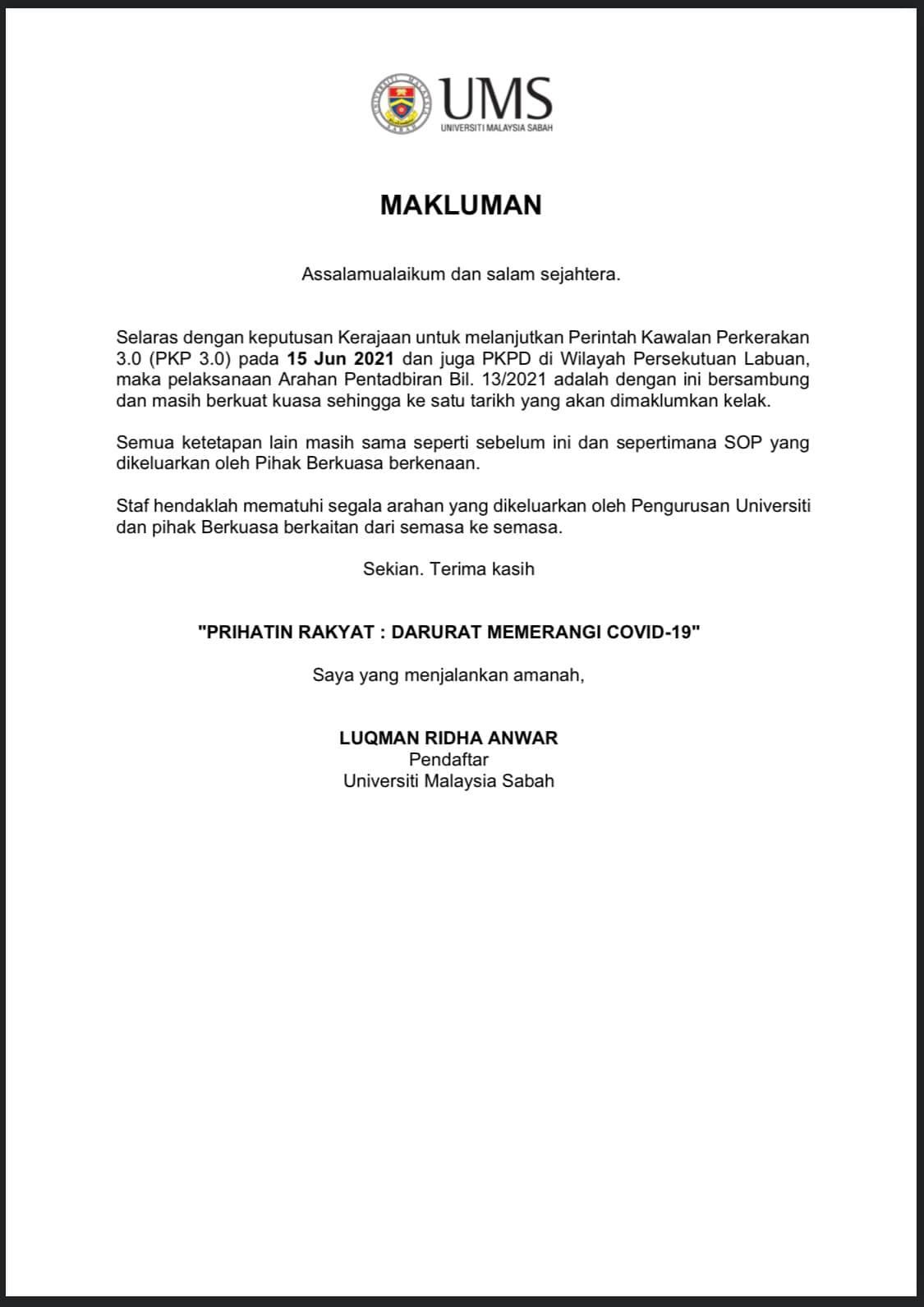 Pemakluman Lanjutan Arahan Pentadbiran Bil. 13/2021