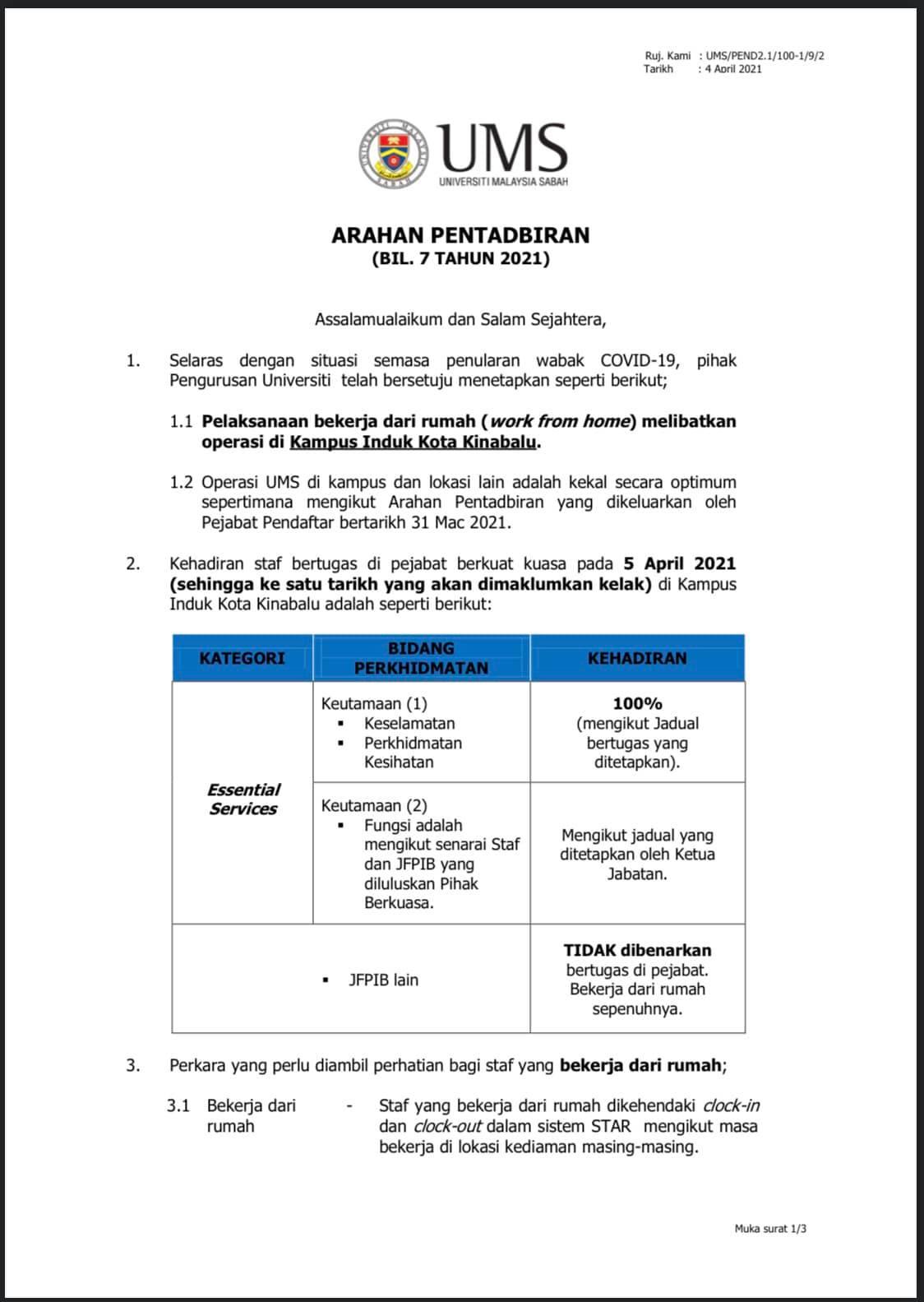 Pemakluman Terkini Peratusan Kehadiran Kakitangan Universiti Malaysia Sabah (Kampus Induk Kota Kinabalu)