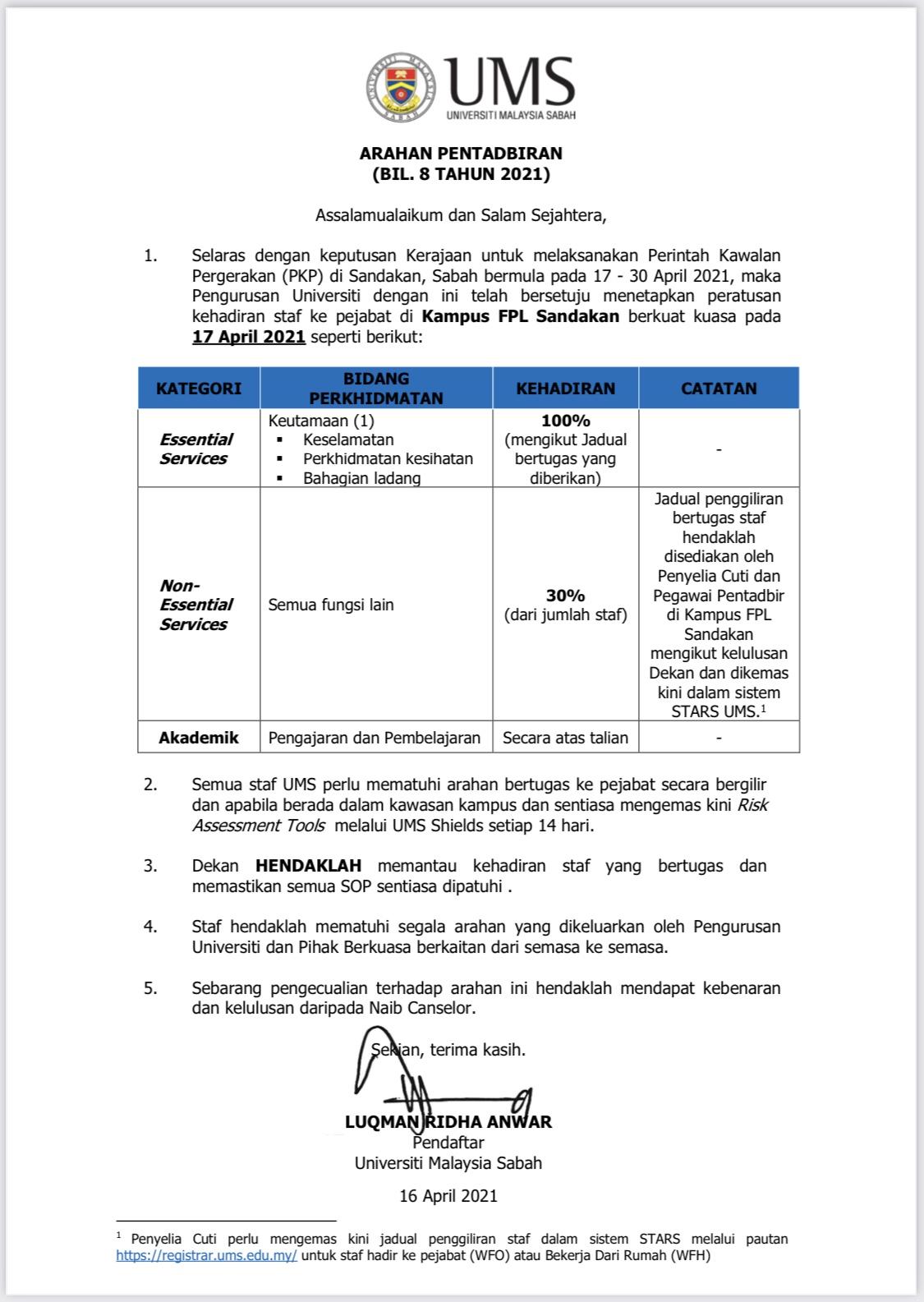Pemakluman Peratusan Kehadiran Staf Universiti Malaysia Sabah (Kampus FPL Sandakan)