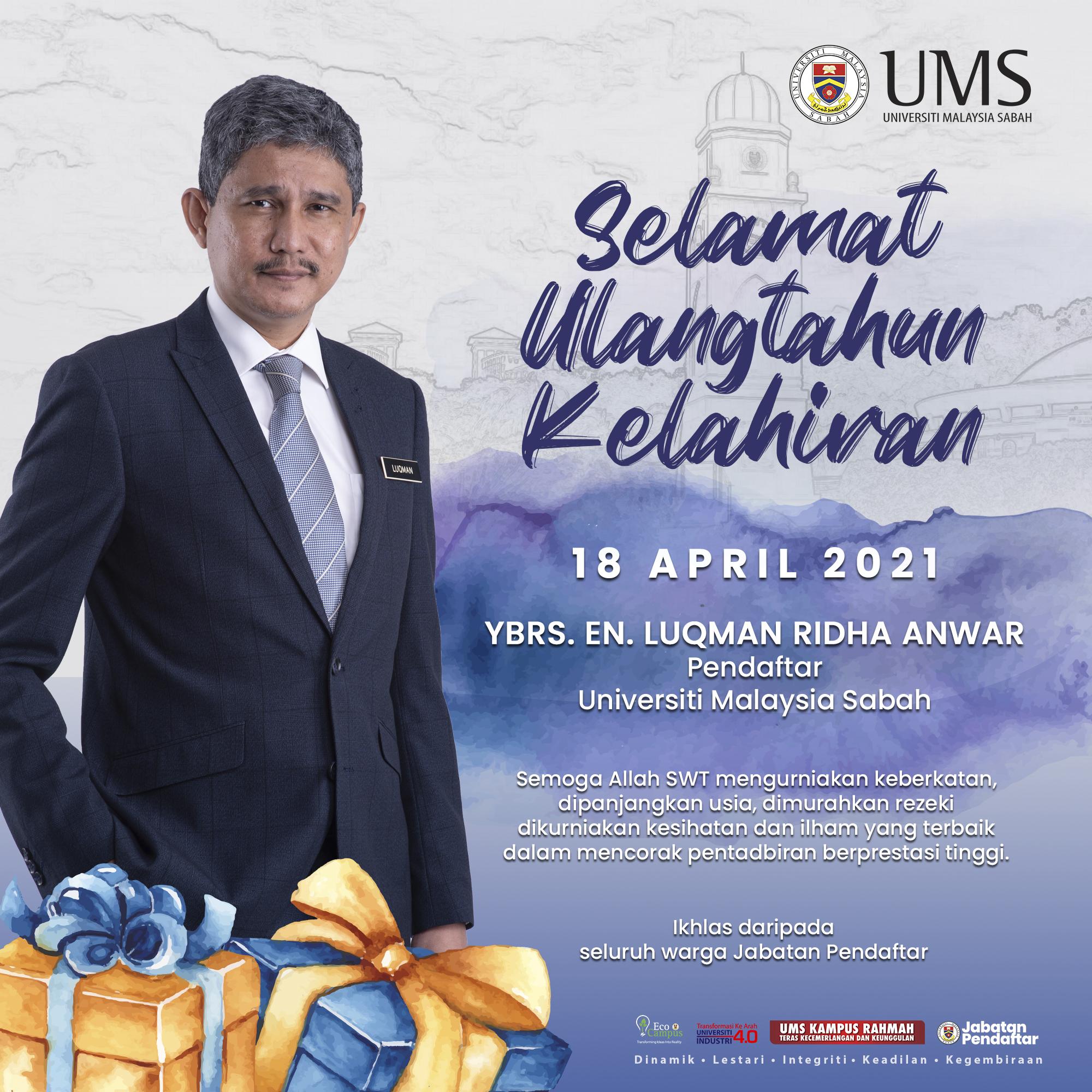 Ucapan Selamat Ulangtahun Kelahiran Pendaftar Universiti Malaysia Sabah