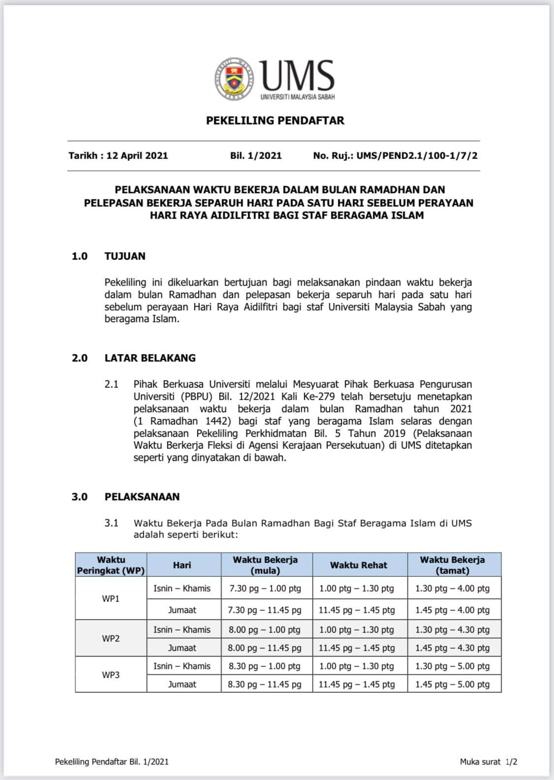 Pemakluman Pelaksanaan Waktu Bekerja Dalam Bulan Ramadhan dan Pelepasan Separuh Hari Pada Satu Hari Bekerja Sebelum Perayaan Hari Raya Aidilfitri