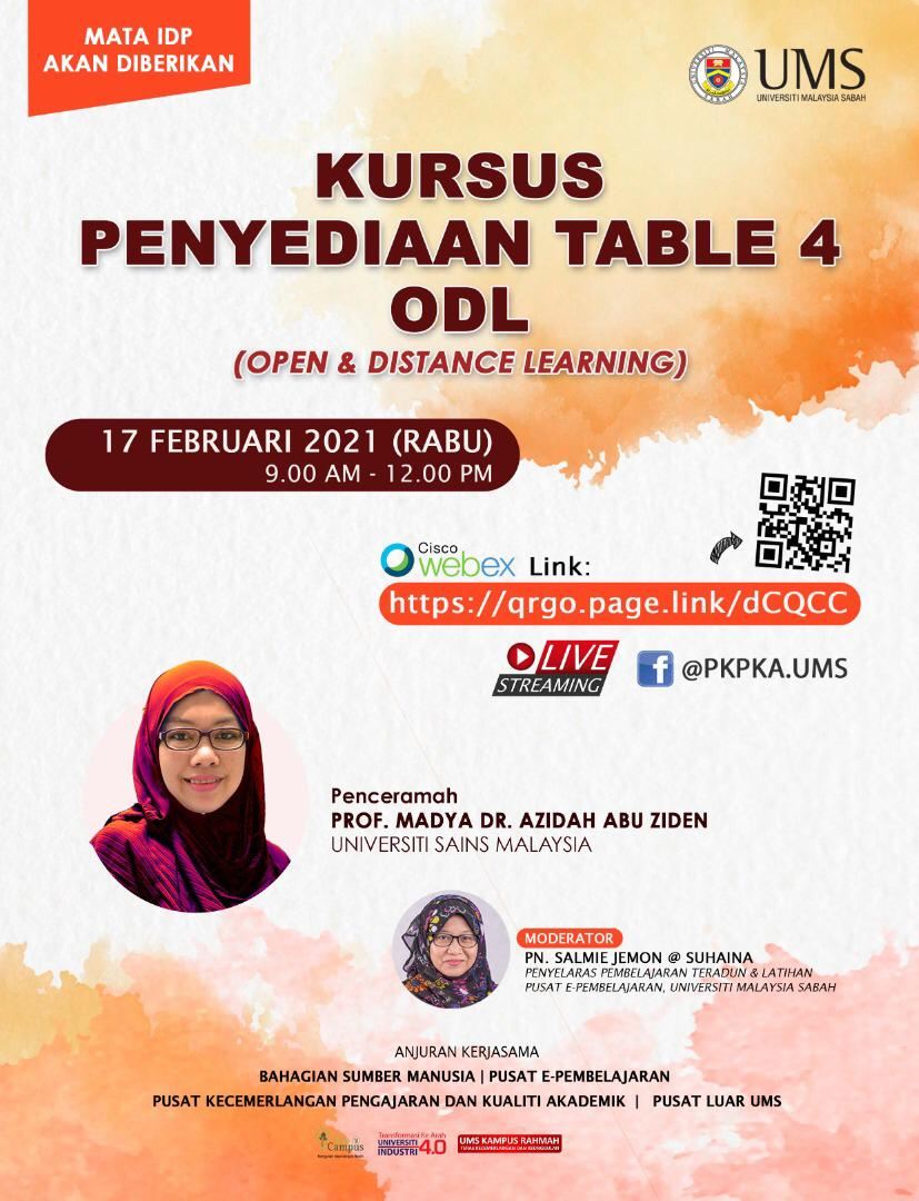 Kursus Penyediaan Table 4 ODL (Open & Distance Learning)
