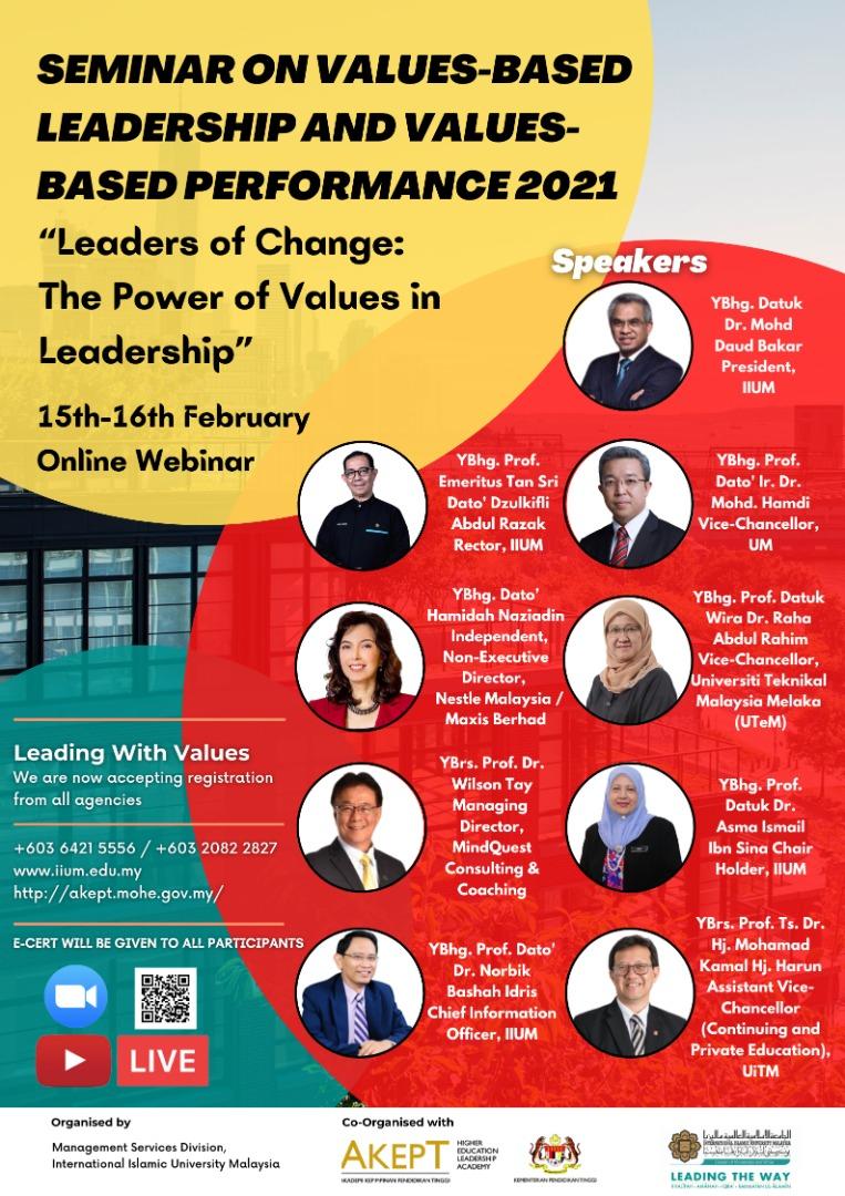 Seminar On Values-Based Leadership and Values-Based Performance 2021.