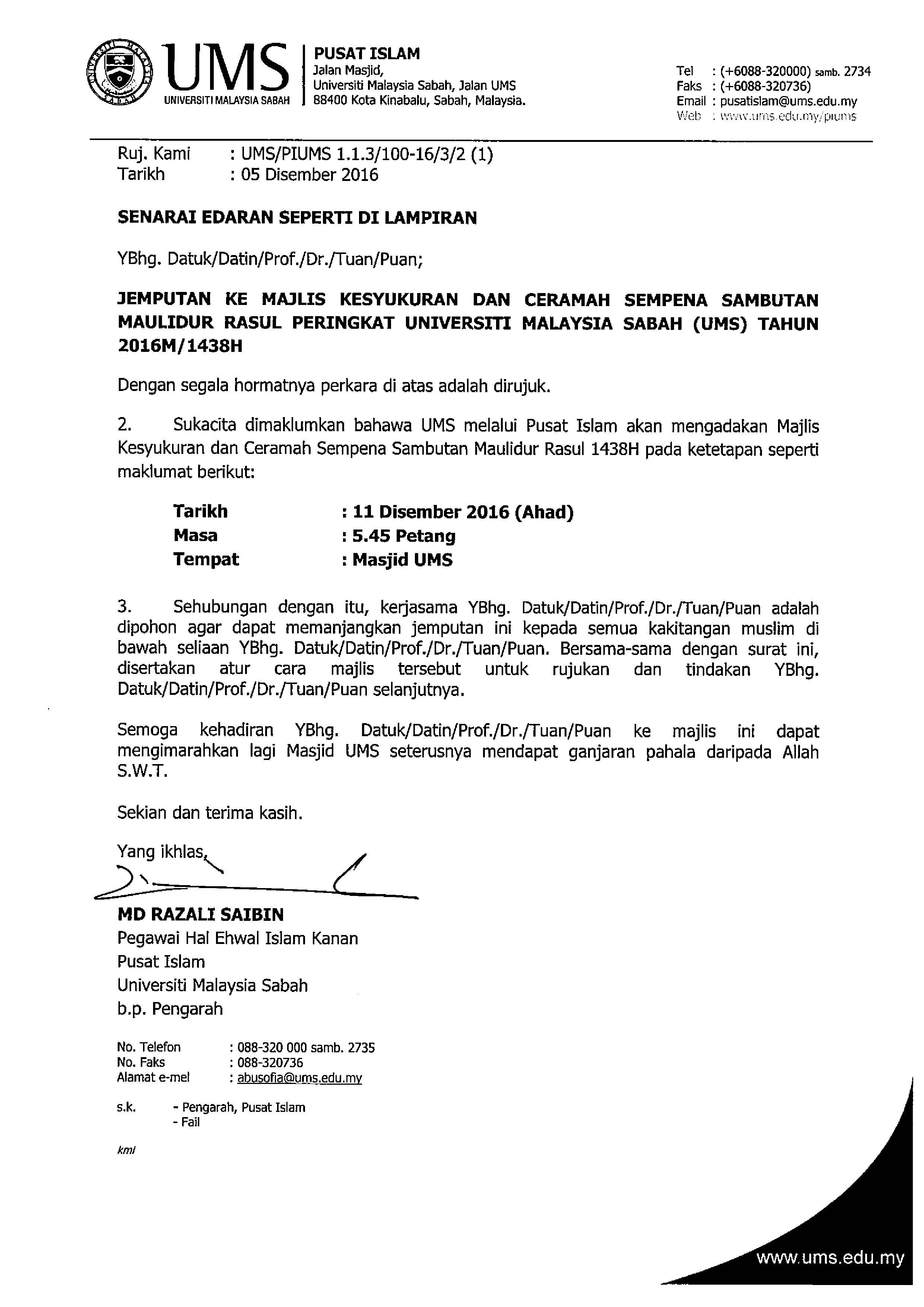 UMS - JEMPUTAN KE MAJLIS KESYUKURAN DAN CERAMAH SEMPENA ...