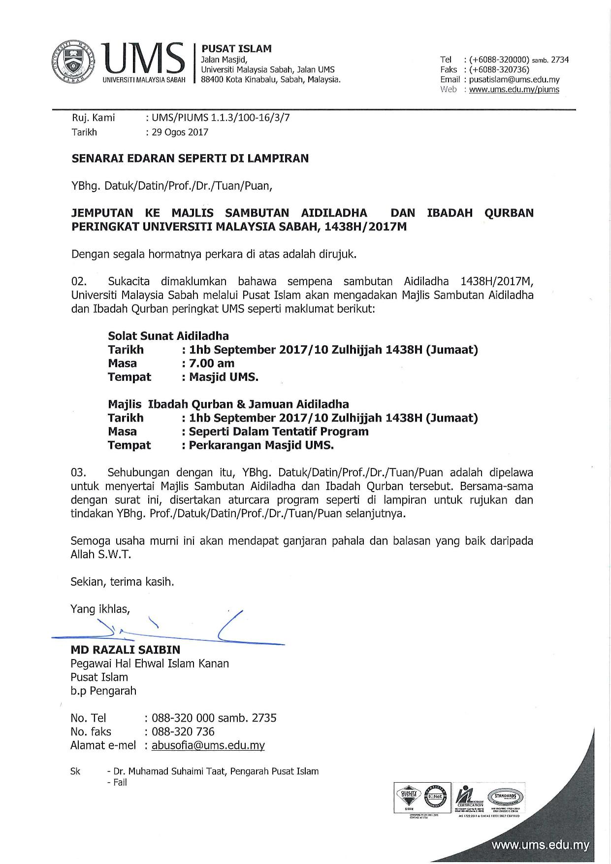 Jemputan Ke Majlis Sambutan Aidiladha Dan Ibadah Korban Peringkat Universiti Malaysia Sabah 1438h 2017m