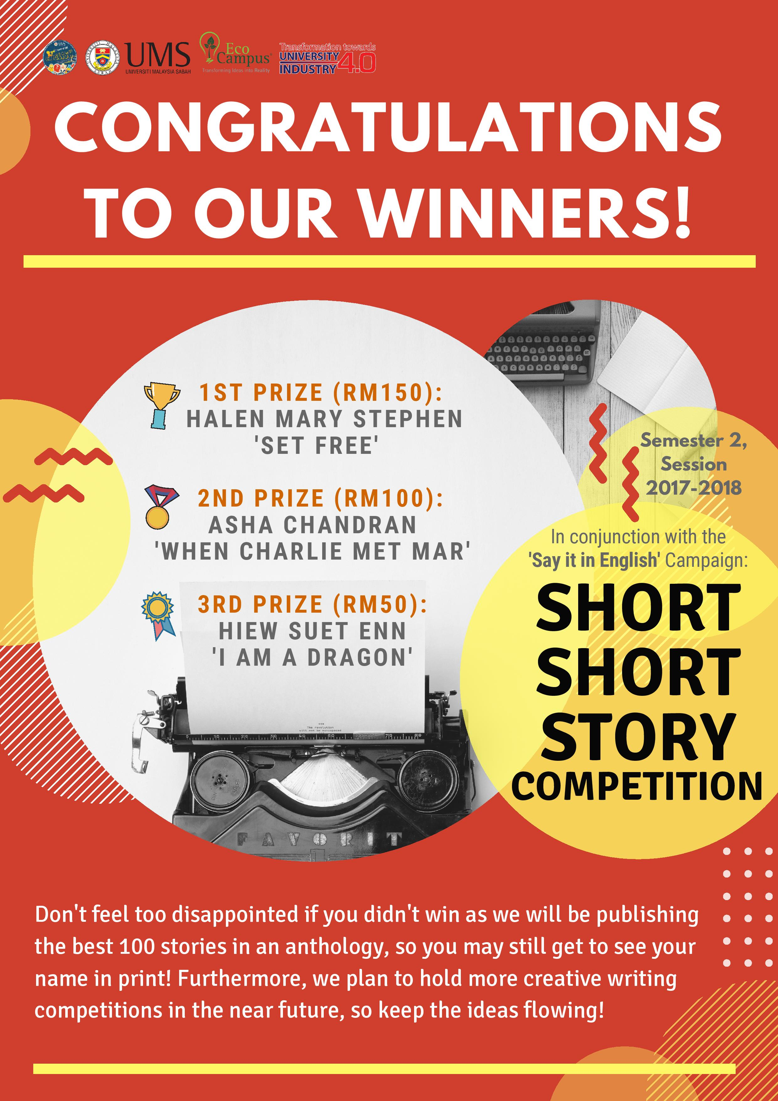 UMS - SHORT SHORT STORY COMPETITION WINNERS