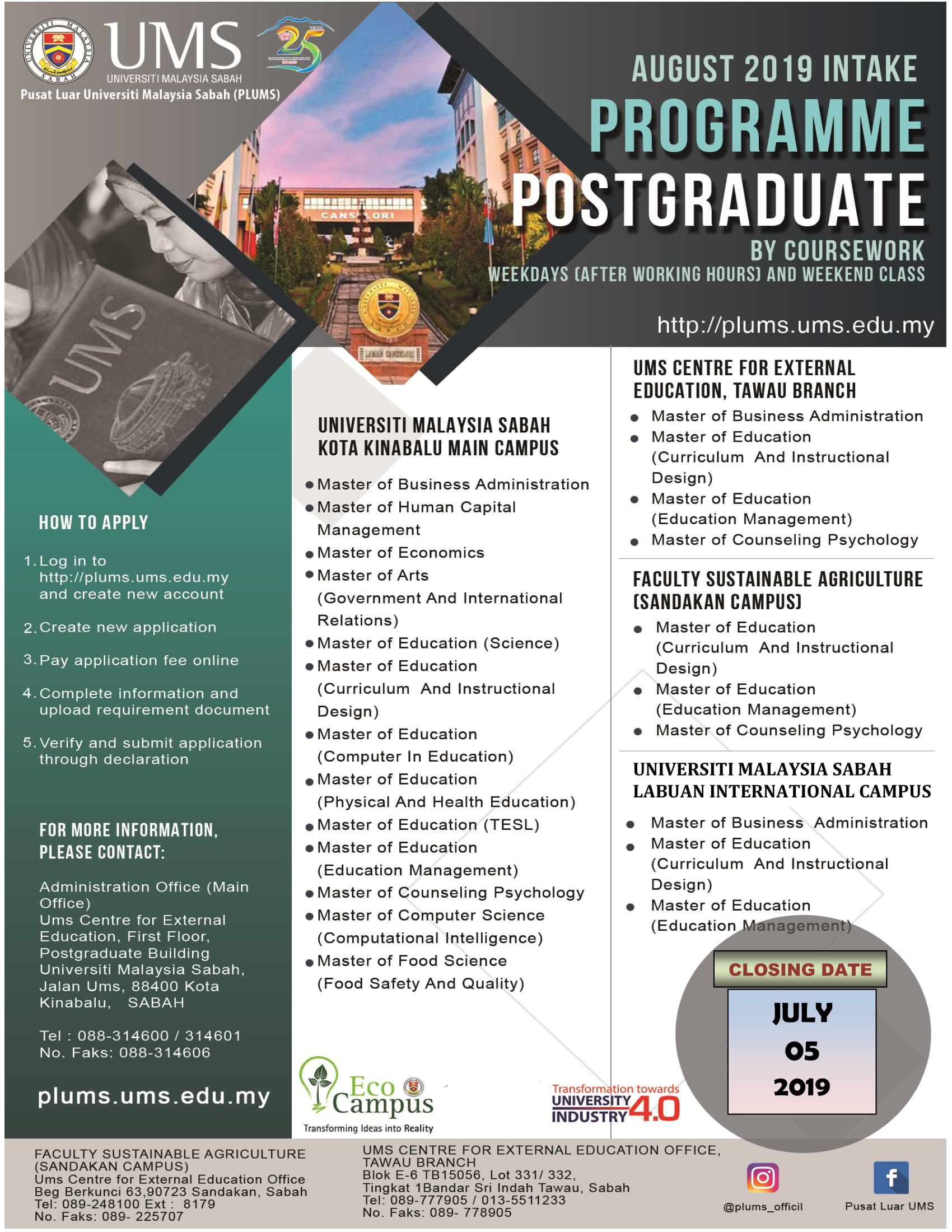 ums postgraduate coursework