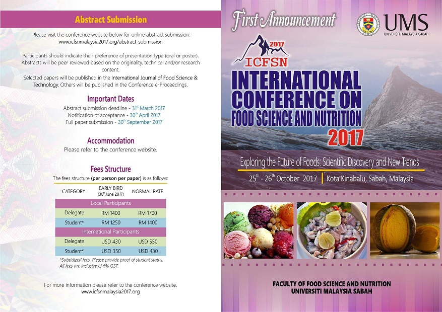 UMS - INTERNATIONAL CONFERENCE ON FOOD SCIENCE AND NUTRITION 2017